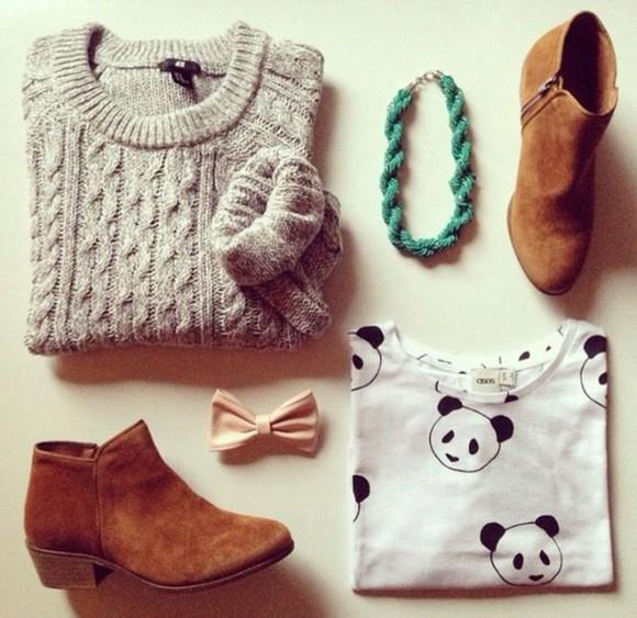 boots low boots top panda top jumper panda sweater