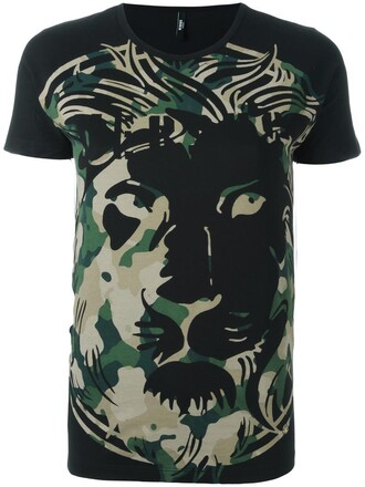 t-shirt shirt women camouflage cotton print black top