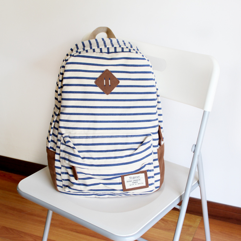 Mushroom fresh summer stripe canvas casual backpack school bag-inBackpacks from Luggage & Bags on Aliexpress.com