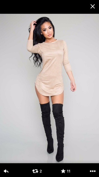 dress long sleeves bodycon dress short tan shoes