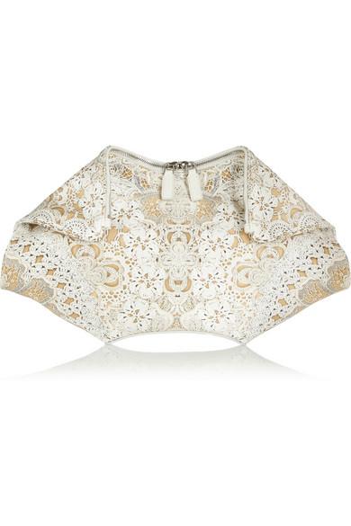 Alexander McQueen|De Manta large crochet-print silk-satin clutch|NET-A-PORTER.COM