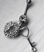 jewels,lock,piercing,belly piercing,belly button ring,silver,diamonds,Accessory,key,heart