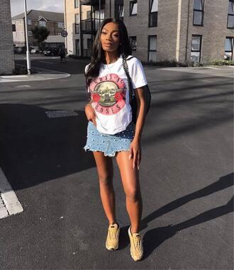 skirt tumblr mini skirt denim denim skirt embellished sneakers t-shirt white t-shirt shoes