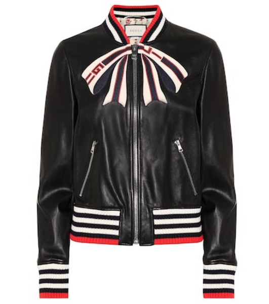 Gucci Leather bomber jacket in black
