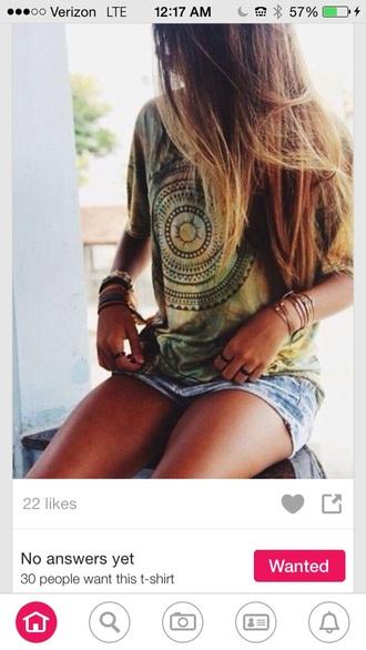 shirt green hipster boho design tie dye