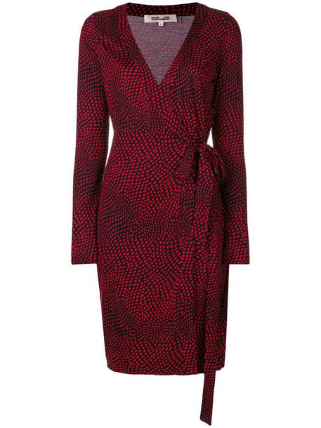 Dvf Diane Von Furstenberg dress wrap dress women print black silk
