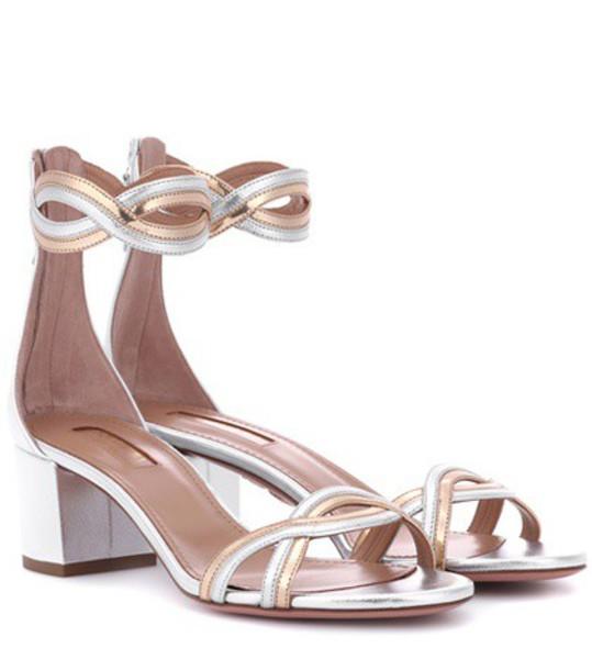 Aquazzura moon sandals silver shoes