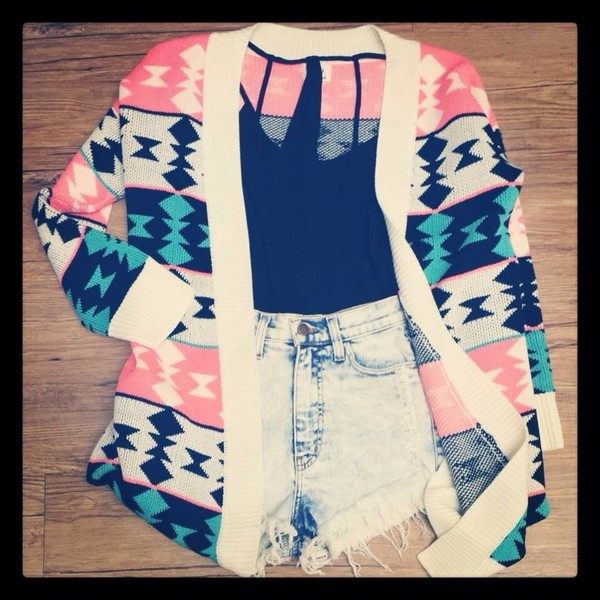 sweater cardigan colorful aztec pink blue knitwear urgent winter outfits blouse