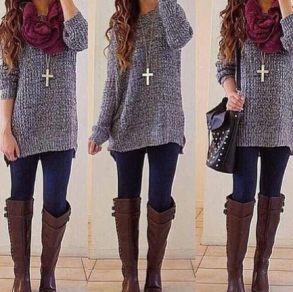grey top shirt oversized sweater brown riding boots brown boots