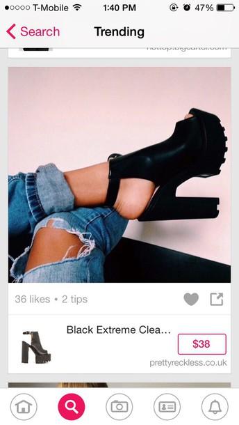 shoes black heels creepers high heels