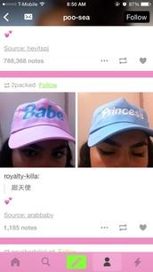 hat,snapback,bae,princess,light pink,light blue,baby blue,baby pink,babe,cap,pink cap
