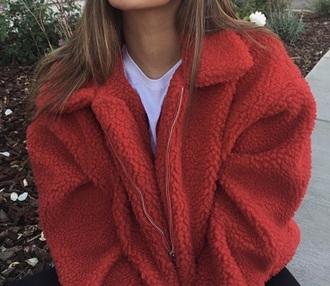 jacket winter outfits red orange warm red jacket orange jacket style cozy