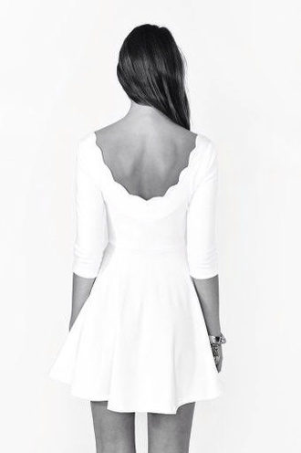 dress white dress scalloped edges white short skater dress low back mid length sleavs