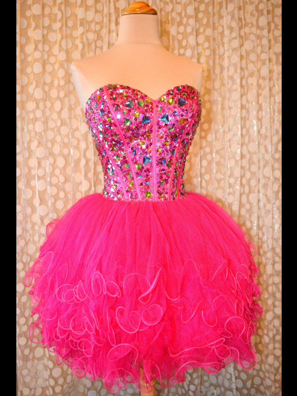 dress mini hemline rhinestones tulle skirt fuchsia sleeveless