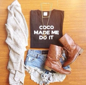 t-shirt top shorts boots black brown white cardigan quote on it jewels