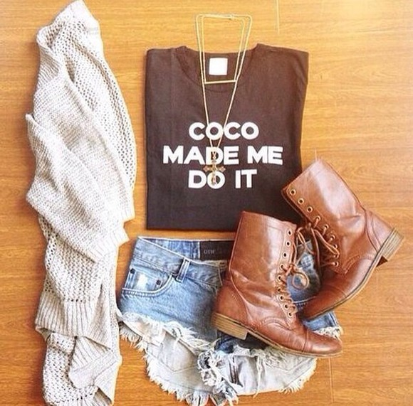 brown white black shorts top t-shirt boots cardigan quote on it jewels