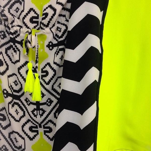 dress neon black white neon yellow geometric chevron tassel
