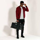jacket,maniere de voir,bomber jacket,suede,deep red,casual,36683