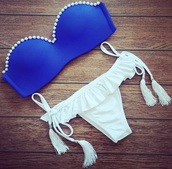 swimwear,dress,blue and white,girly,bow tanga,white,blue,pearl,bikini,bikini top,bikini bottoms,summer,beach,strapless,cute,rosewholesale.com