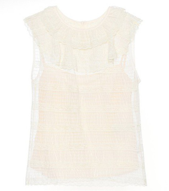 top lace top sleeveless lace white