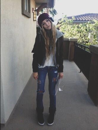 jacket acacia brinley ripped jeans hoodie headphones cute shoes jeans