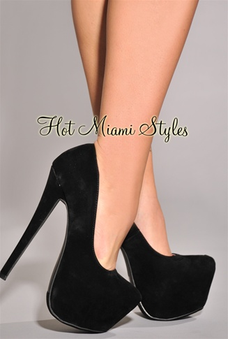 Black Faux Suede Oversized High Heel Pumps