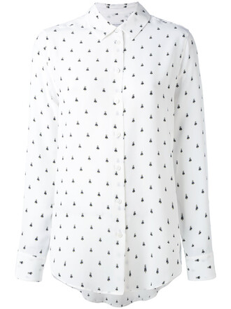 shirt women bee white print silk top