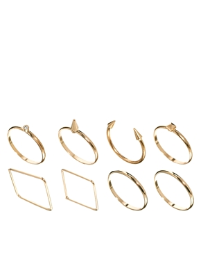 ASOS | ASOS Fine Shapes Ring Pack at ASOS