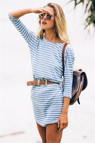 dress stripes 3/4 sleeves belt beach summer sunglasses blue white nautical horizontal stripes scoop neck sailor