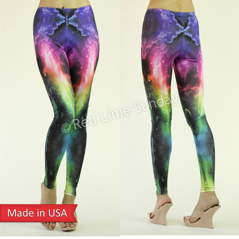 New Women Galaxy Cosmic Neon Color Ombre Sky Stretchy Leggings Tights Pants USA