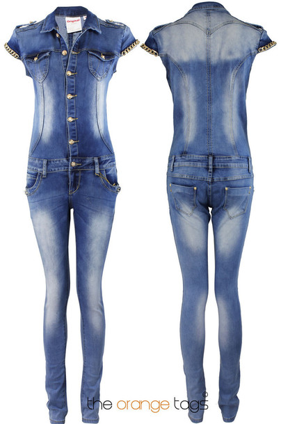 Jumpsuit: vintage, retro, ladies, denim, romper, onesie, all in ...