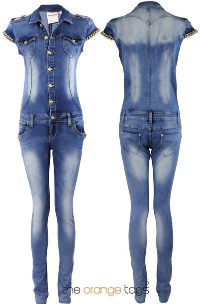 05c2c5405d5e jumpsuit vintage retro ladies denim romper onesie all in one jeans jeans  jumpsuit chain tex mex