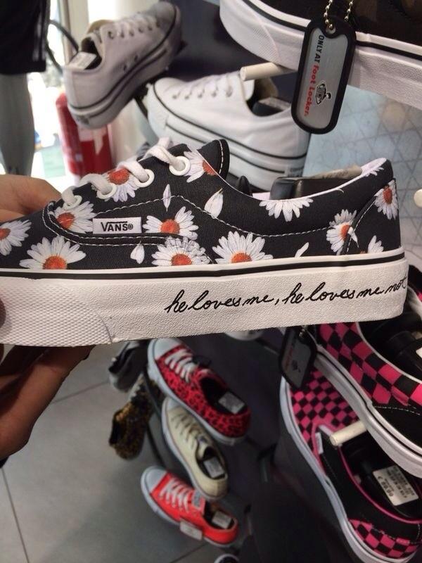 black sneakers floral floral sneakers shoes he loves me he loves me not vans