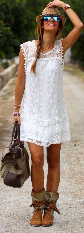 white dress white lace dress lace summer dress bag boho sunglasses dress the dress shoes boho chic white lace dress white lace shorts white lace skirt bodycon dress cut out bodycon dress blue mini dress dress mini dress short dress boho dress braid woven boot brown boots boots cowboy boots ankle boots sexy dress party dress mini dress girl women streetstyle summer white boho dress