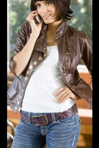 jacket the holiday movie shannyn sossoman leather jacket buttons