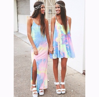 dress rainbow tie dye summer outfits hair accessory withchic