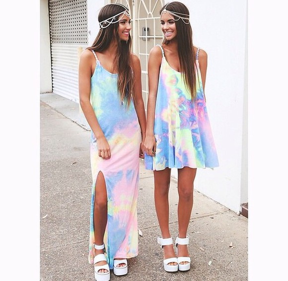 tie dye dress rainbow summer outfits hair accessories