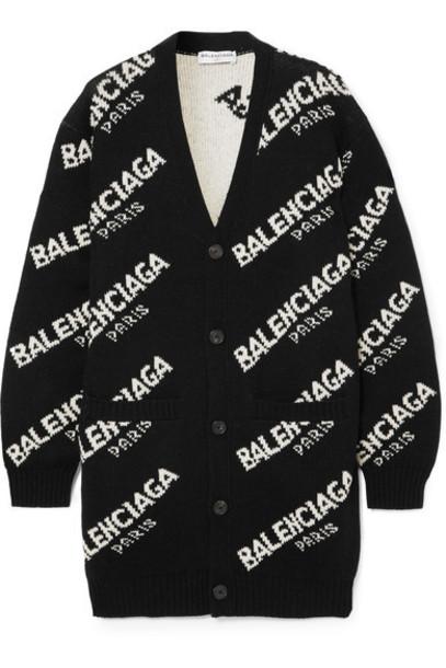 Balenciaga cardigan knitted cardigan cardigan black sweater