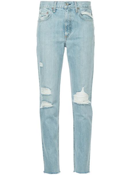 Rag & Bone jeans skinny jeans ripped skinny jeans women ripped cotton blue