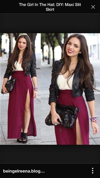 skirt maroon slit in leg maxi skirt jacket