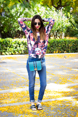 shoes and basics blogger birkenstocks blue bag printed sweater