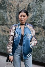 jacket,satin bomber,bomber jacket,blue jacket,fashion agony,blogger