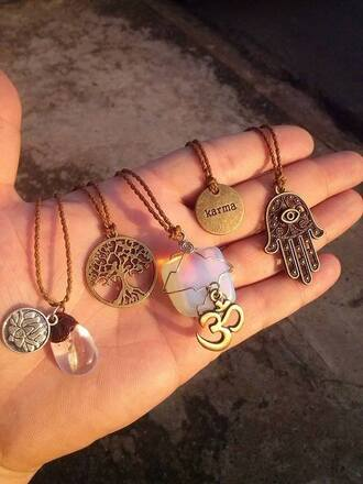jewels hippie necklace ring bracelets stones crystals hippie gold karma hamsa ohm stone necklace indie