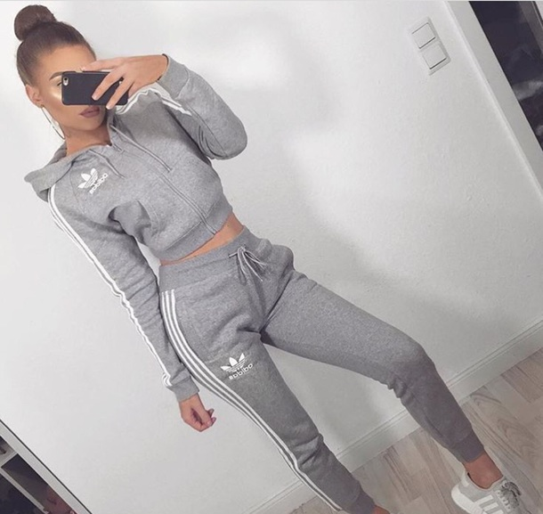 jacket adidas grey white joggers crop crop tops striped top sportswear adidas jacket adidas pants adidas shoes cute