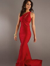 dress,red,prom,one shoulder,floor length,sexy cocktail dress,sexy dress,red formal dress,red dress,prom gown