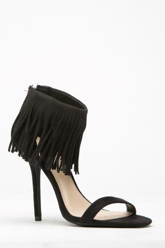 76a1cce251e8 Black Faux Suede Fringe Single Sole Heels   Cicihot Heel Shoes online store  sales Stiletto Heel Shoes ...