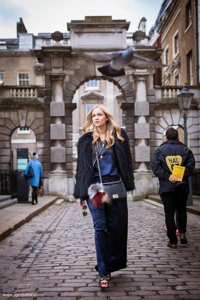 en vogue coop blogger fluffy black jacket maxi skirt coat top pants shoes finery london