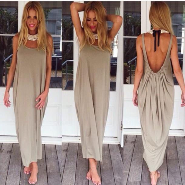 dress beach khaki color fashion terndy summer jewels clothes