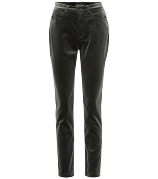 Dolce & Gabbana Velvet straight pants in green