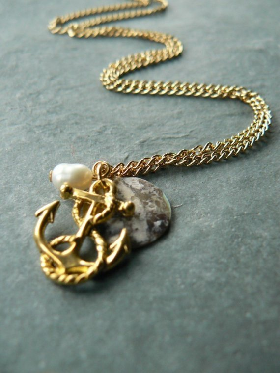 Gold anchor nautical charm necklace by laurabailliedesigns on etsy